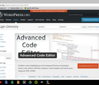 advanced code editor screen shot from wordpress repository