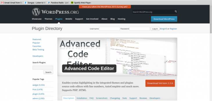 advanced code editor screen shot from wordpress repository