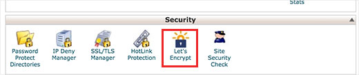 old skin of cpanel showing where the lets encrypt icon is located